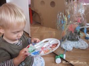 Рисуем пальчиковыми красками с ребенком.