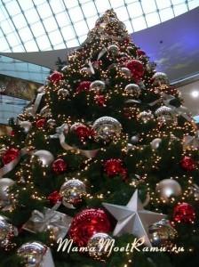 Огромная елка до потолка в немецком торговом центре.